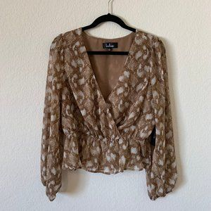 Snake Print Peplum Long Sleeve Top